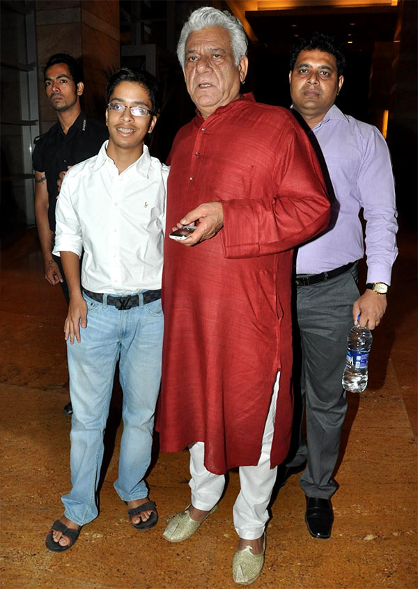 Om Puri with his son Ishaan.