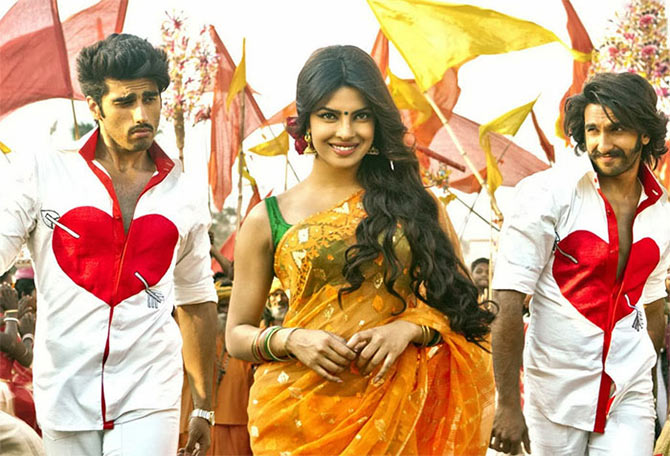 Arjun Kapoor, Priyanka Chopra and Ranveer Singh in Gunday