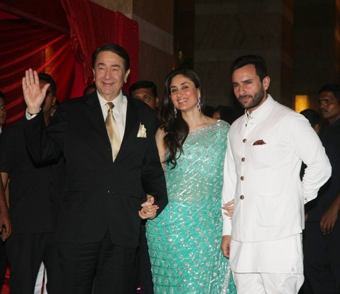 Randhir Kapoor, Kareena Kapoor and Saif Ali Khan