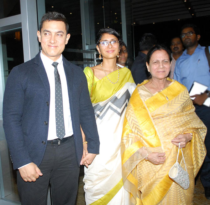 Aamir Khan with wife Kiran Rao and mother Zeenat Hussain
