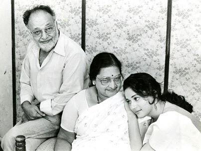 Madhuri with her parents, the late Mr Shankar Dixit and Mrs Snehlata Dixit.