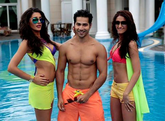 Nargis Fakhri, Varun Dhawan and Ileana Dcruz in Main Tera Hero