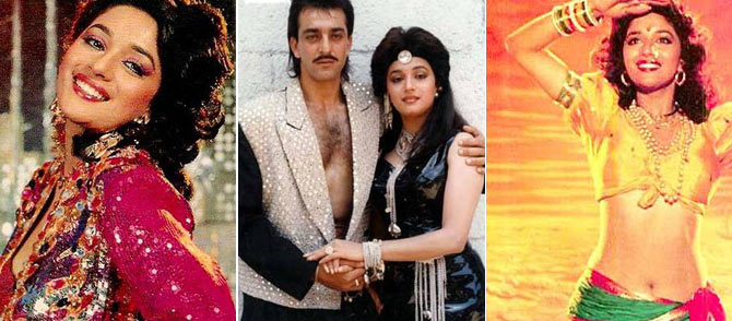 Madhuri Dixit in Kishen Kanhaiya, Madhuri Dixit and Sanjay Dutt in Thanedar and Madhuri Dixit in Sailaab