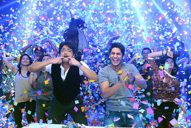 Nagarjuna and Naga Chaitanya in Manam
