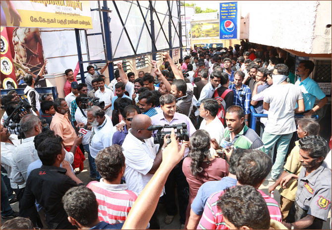 Fans outside a theatre screening Kochadaiiyaan in Chennai