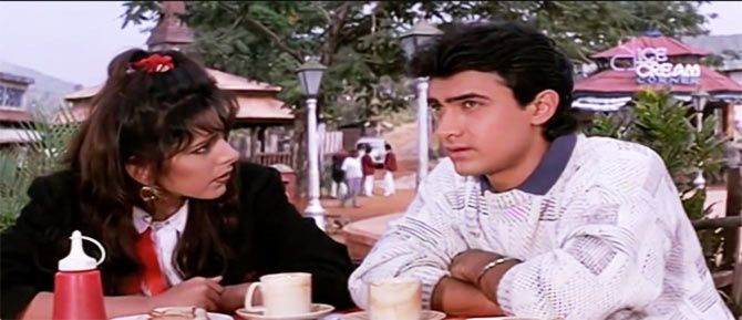Pooja Bedi and Aamir Khan in Jo Jeeta Wohi Sikandar