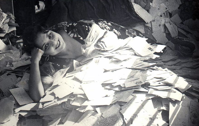 Tabassum with her fan mail