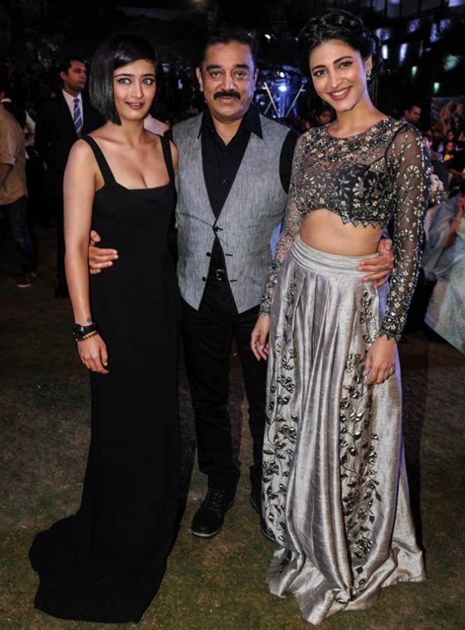 Kamal Haasan with daughters Akshara and Shruti. Photograph: Pradeep Bandekar