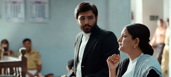 Vivek Gombre and Geetanjali Kulkarni in Court