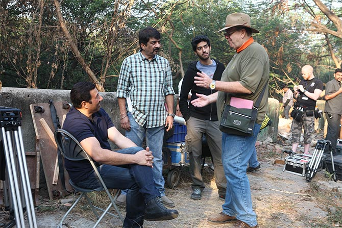 Sunny Deol and Dan Bradley on the sets of Ghayal Once Again