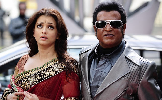 Aishwarya Rai Bachchan and Rajinkanth in Robot