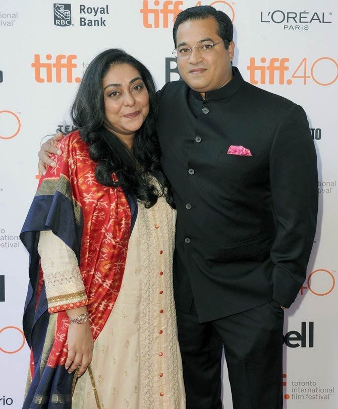 Meghna Gulzar with her husband Govind Singh at the screening of Talvar at the Toronto film festival.