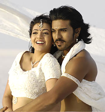Kajal Agarwal and Ram Charn Teja in Magadheera