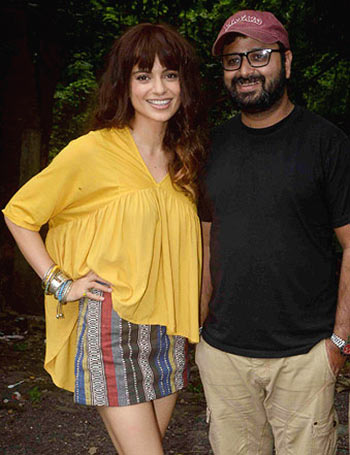 Kangna Ranaut and Nikhil Advani on the sets of Katti Batti
