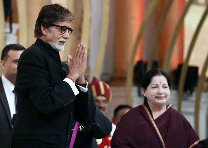 Jayalalithaa with Amitabh Bachchan at an event in Chennai.