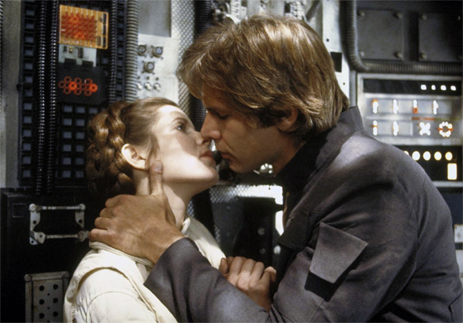 Carrie Fisher and Harrison Ford Star Wars, Episode V – The Empire Strikes Back