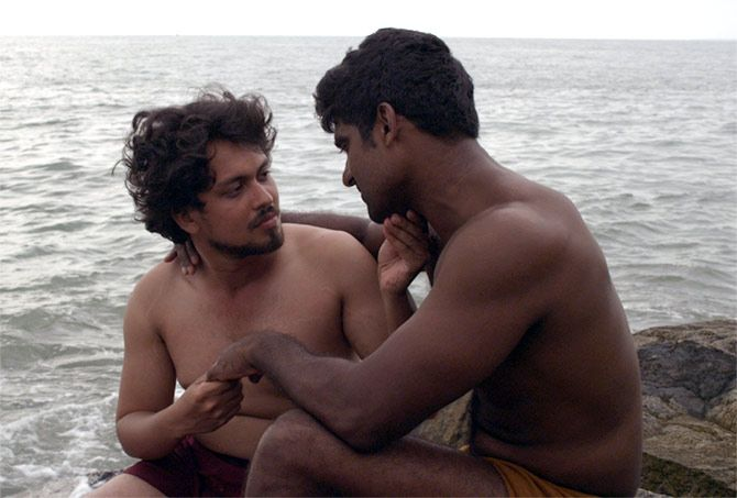 Jason Chacko and Rajesh Kannan in Ka Bodyscapes.