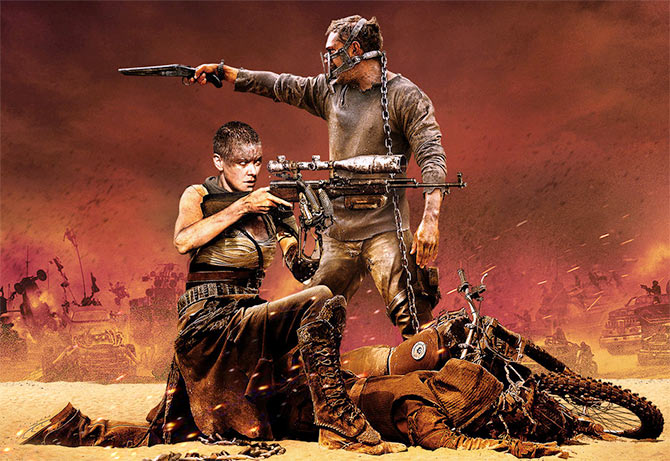 Charlize Theron and Tom Hardy in Mad Max: Fury Road.
