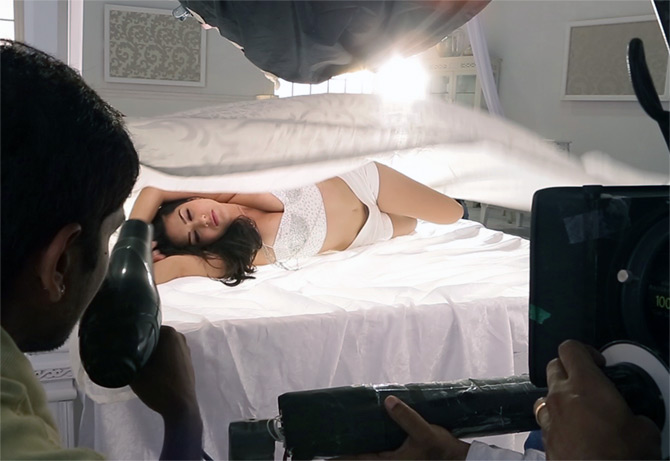 Sunny Leone shooting for a Bollywood film