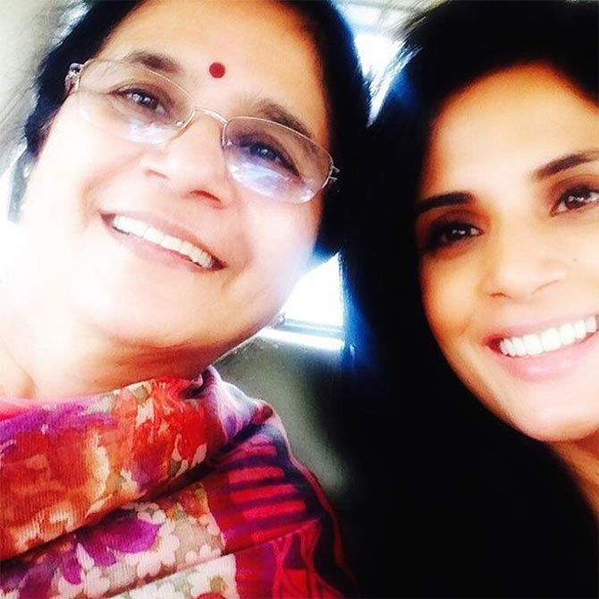 Richa Chadha with her mother