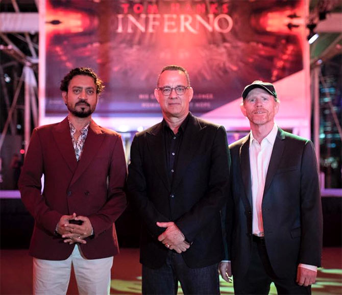 Irrfan with Tom Hanks at a promotional event for the soon-to-be-released Inferno