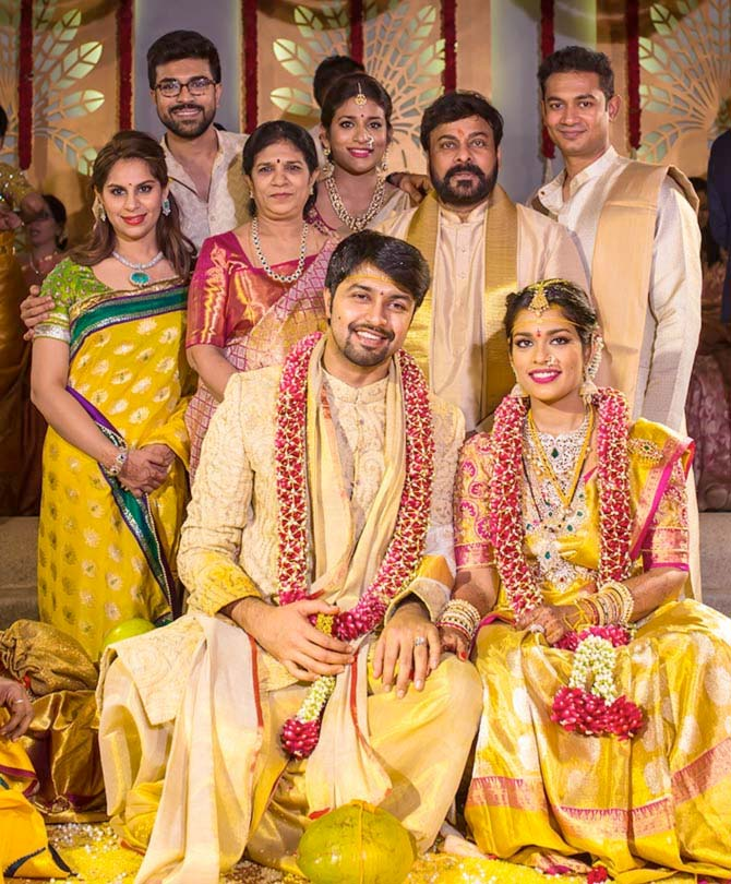 Chiranjeevi's son Ram Charan Teja with wife Upasana, Chiranjeevi's wife Surekha, Chiranjeevi, daughter Sushmita, son-in-law Vishnu Prasad, and the newlyweds Sreeja and Kalyan