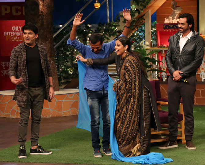 PIX: Vidya Balan-Arjun Rampal on The Kapil Sharma Show - Rediff com