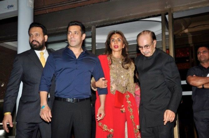 Parmeshwar and Adi Godrej attend the wedding reception of Salman Khan's youngest sister, Arpita, last year
