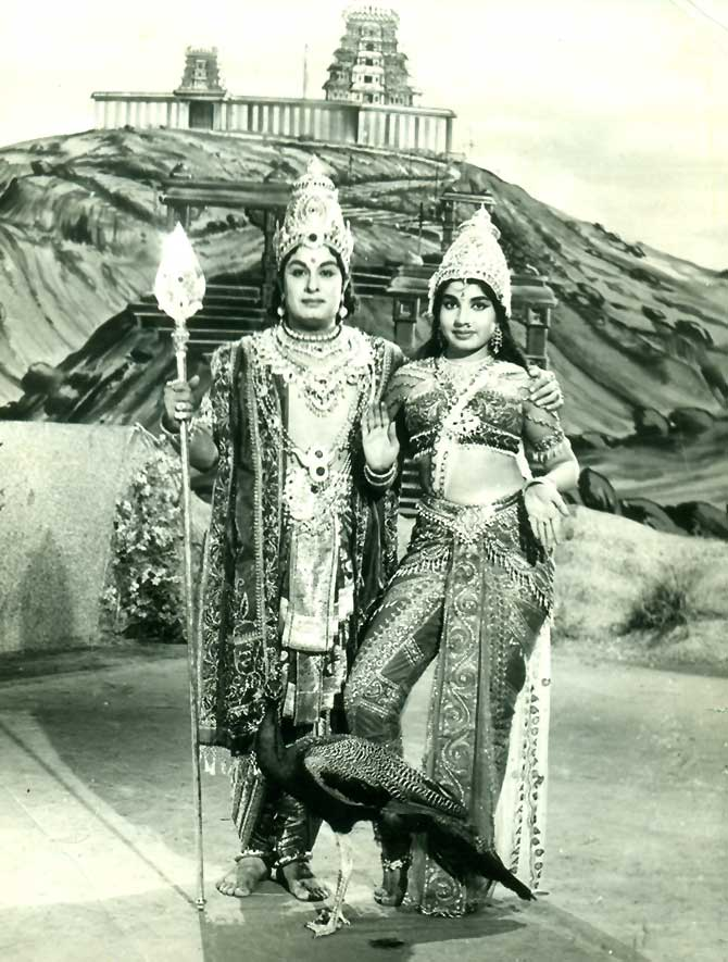 MGR as the Tamil deity Lord Murugan and Jayalalithaa as his wife, Valli, in one of their many movie roles.