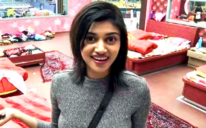 Oviya in the Bigg Boss house