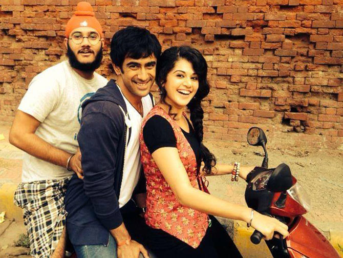 Arsh Bajwa, Amit Sadh and Taapsee Pannu in Running Shaadi