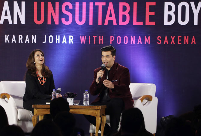 Shobhaa De and Karan Johar at the launch of An Unsuitable Boy, January 17. 2017. Photograph: Hitesh Harisinghani/Rediff.com