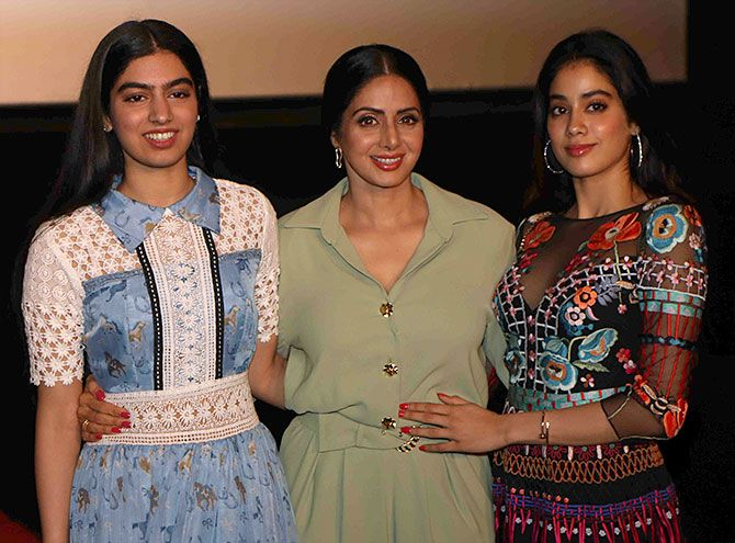 Mom Sridevi and daughters