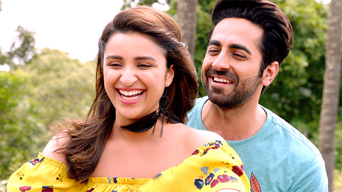 Parineeti Chopra and Ayushmann Khurrana in Meri Pyaari Bindu.