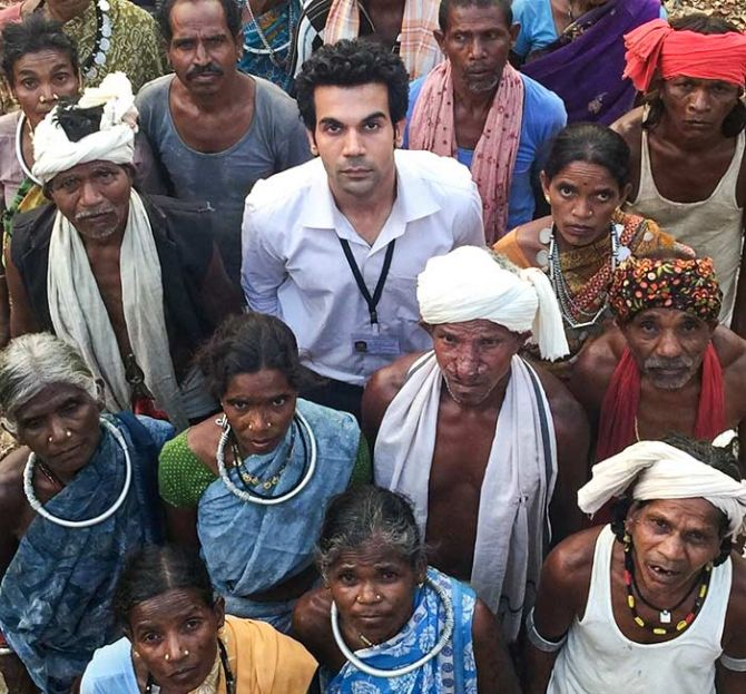 Rajkummar Rao with his co-actors in Newton