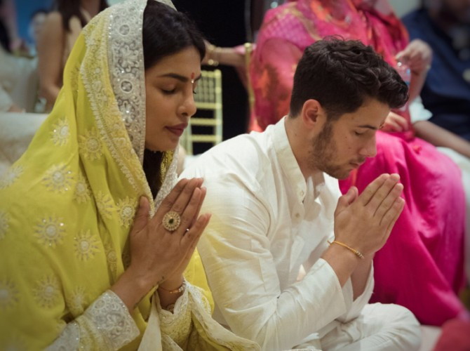 Priyanka Chopra and Nick Jonas at their roka ceremony in Mumbai in August. Photograph: Kind courtesy Priyanka Chopra/Instagram