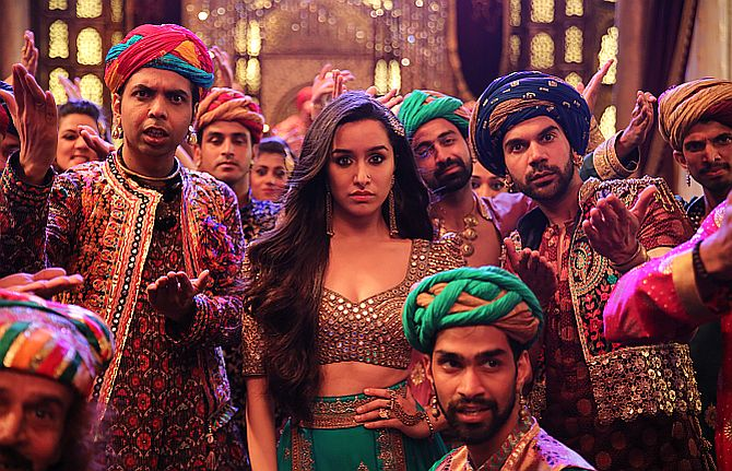 Abhishek Banerjee, Shraddha Kapoor and Rajkummar Rao in Stree.