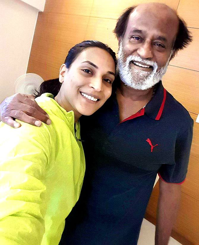 Aishwaryaa with her father, Ranjinikanth