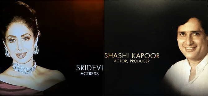 Shashi Kapoor and Sridevi were honoured in the In Memoriam section