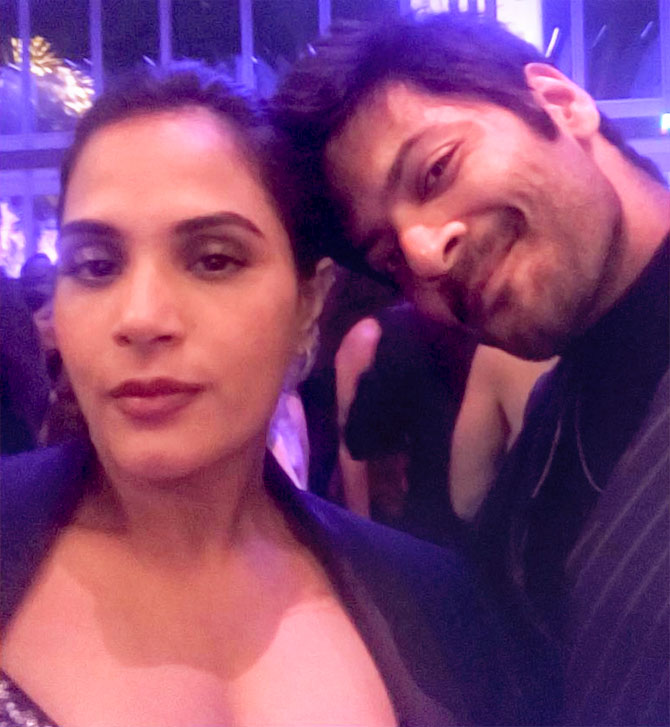Ali Fazal and Richa Chadha at Vanity Fair's Oscars party. Photograph: Kind courtesy Richa Chadda/Instagram