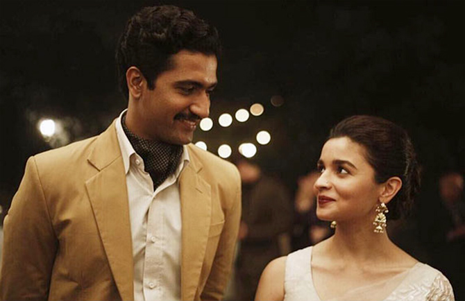 In Meghna Gulzar's Raazi, Alia Bhatt plays a Kashmiri woman who marries a Pakistan army officer played by Vicky Kaushal and spies for India.