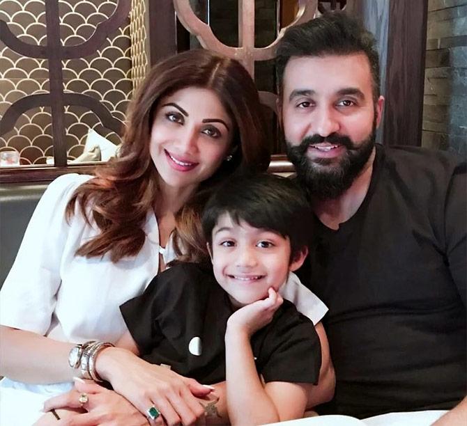 Shilpa, Raj mush over their lil' munchkin - Rediff com movies