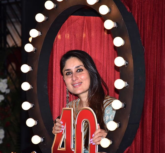 Kareena Kapoor poses with the Prithvi 40 logo.