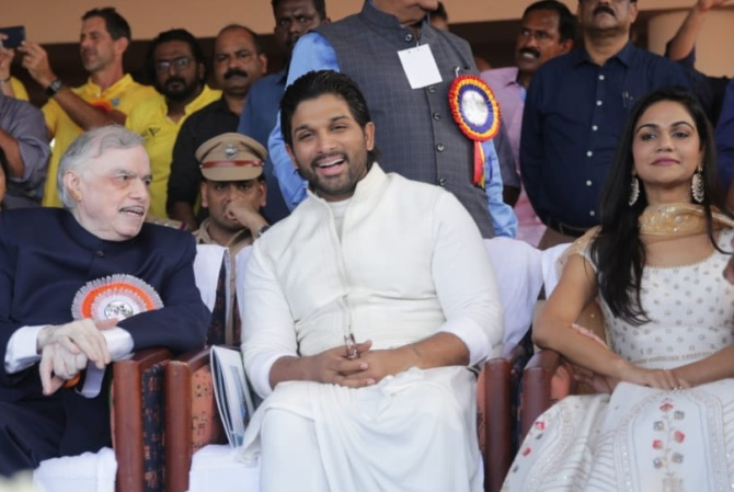 Kerala Governor P Sathasivam, Allu Arvind and Snehlata Reddy