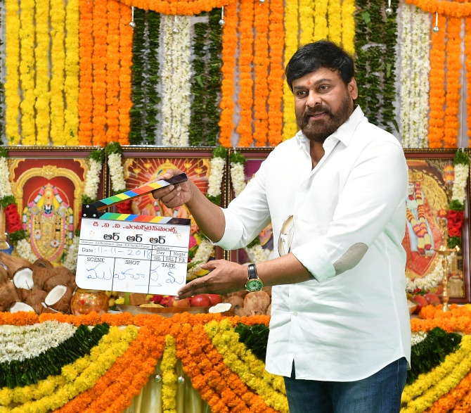 Superstar Chiranjeevi gives the mahurat clap for RRR