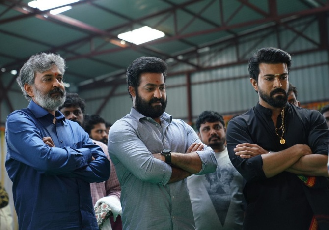 S S Rajamouli, NTR Jr and Ram Charan at the RRR launch