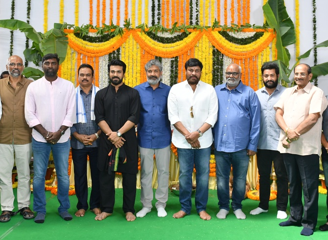 Chiranjeevi, S S Rajamouli, NTR Jr and Ram Charan at the RRR launch