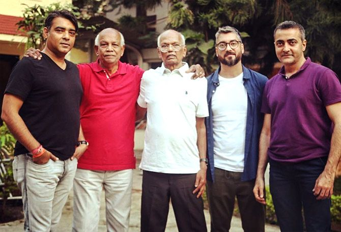 Amit Sharma, second from right, with football legends Franco and Balaram, second and third from left. Photograph: Kind courtesy Amit Sharma/Instagram