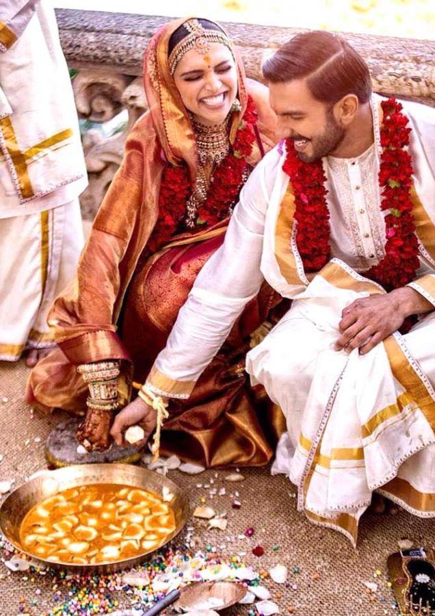 Deepika and Ranveer on their wedding day