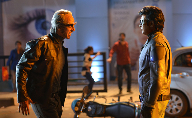 Akshay Kumar and Rajnikant in 2.0